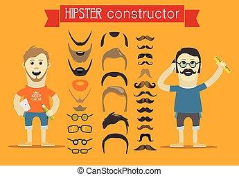 clip-art., éléments, accessoires, personne, vecteur, conception, hipster