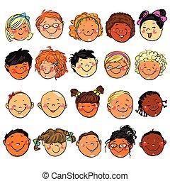 clip-art., 子供, 手, 引かれる, faces., 幸せ