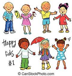 clip-art., 子供, -, 手, 部分, 引かれる, 1., 幸せ