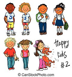 clip-art., 子供, -, 手, 部分, 引かれる, 2., 幸せ