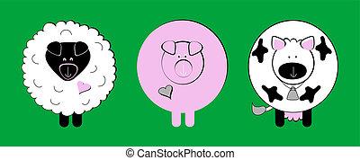 clip-art, animale, fattoria