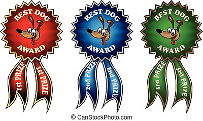 Clip-art best dog award ribbons