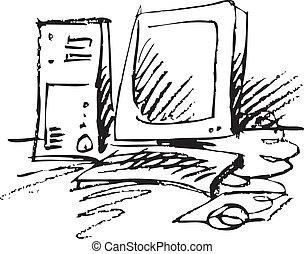 clip-art computer - nice clip-art computer on the white...