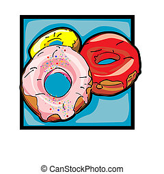 Clip art donuts - Classic clip art graphic icon with donuts