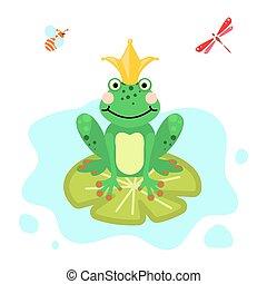 clip-art, freigestellt, frosch fürst, grün, vector., karikatur