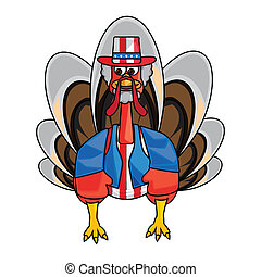 clip art funny turkey - Clip art image of a dressed funny...