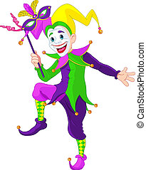 Mardi Gras jester - Clip art illustration of a cartoon Mardi...