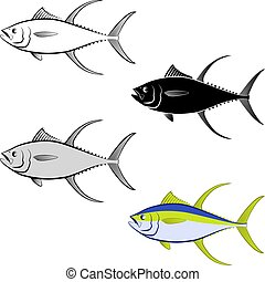 tuna - clip art illustration of tuna fish and line art