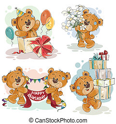 Clip art illustrations of teddy bear wishes you a happy birthday
