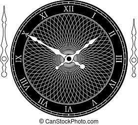 clip-art, ouderwetse , illustratie, wijzerplaat, vector, arrows., klok