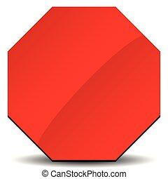 clip-art, parar la muestra, camino, rojo blanco, señal
