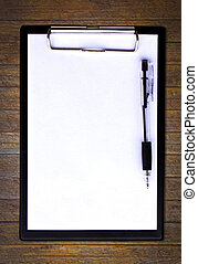 Clip board and papers isolated