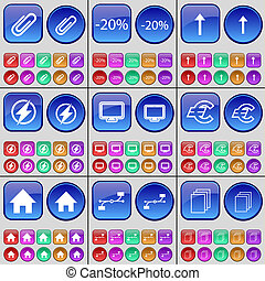 Clip, Discount, Arrow up, Flash, Monitor, Euro, House, Connection, Files. A large set of multi-colored buttons.