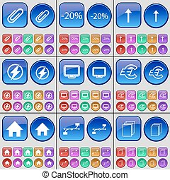 Clip, Discount, Arrow up, Flash, Monitor, Euro, House, Connection, Files. A large set of multi-colored buttons. Vector