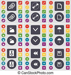 Clip, Disk, File, Cloud, Arrow down, Umbrella, Speaker, Rewind, Floppy icon symbol. A large set of flat, colored buttons for your design. Vector