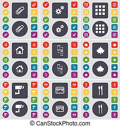 Clip, Gear, Apps, House, Connection, Maple leaf, CCTV, Credit card, Fork and knife icon symbol. A large set of flat, colored buttons for your design. Vector