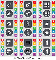 Clip, Gear, Apps, House, Connection, Maple leaf, CCTV, Credit card, Fork and knife icon symbol. A large set of flat, colored buttons for your design.