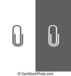 Clip icon on black and white background