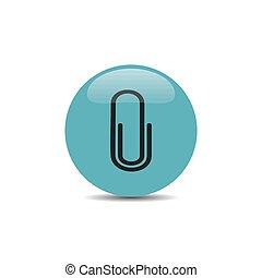 Clip icon on blue button