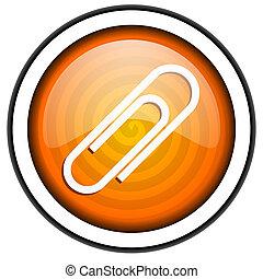 clip, isolato, carta, lucido, fondo, arancia, bianco, icona