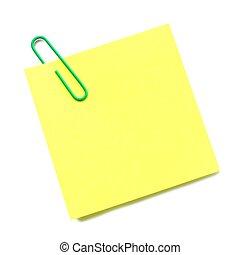 clip, isolato, nota appiccicosa, carta, verde bianco