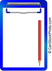 clip, isolato, pensil, vettore, cartella, bianco rosso