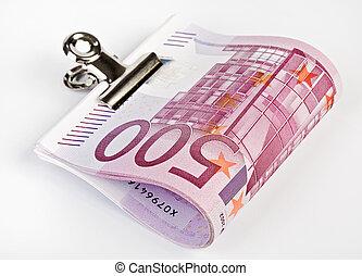 clip, notas, lío, banco de papel, atar, 500, euro