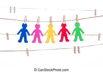 clip on a  twine , hanging colorful people  global  multiracial partnership