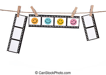 hanging Photographic Negatives with smiley face, Comedy ...