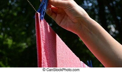 clip pin put hand laundry