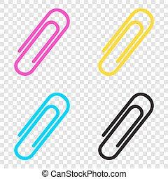 Clip sign illustration. CMYK icons on transparent...
