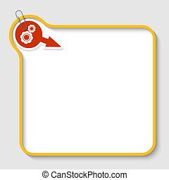 clip, texto, marco, amarillo, papel, vector, ruedas dentadas