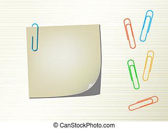 clip, vettore, blocco note, carta, pagina