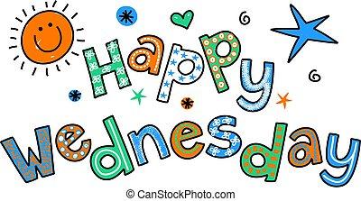 clipar, feliz, quarta-feira, caricatura, texto