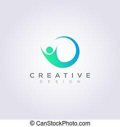 clipart, 人々, シンボル, イラスト, ベクトル, デザイン, テンプレート, ロゴ, 円, 幸せ