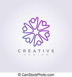 clipart, 人々, シンボル, イラスト, ベクトル, デザイン, テンプレート, ロゴ, 円