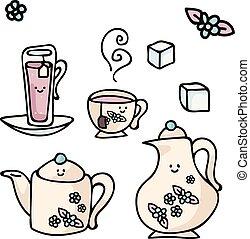 clipart., advert., desayuno, café, kawaii, diferente, hoja,...