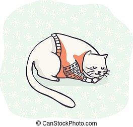 clipart, chat, dormir, broderie, dessiné, main, noël carte, cavalier