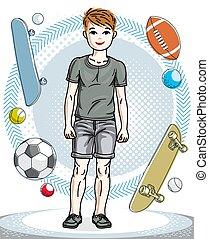 clipart., clothes., 子供, 流行, 偶然, 主題, 幸せ, ファッション, ベクトル, 身に着けていること, illustration., 男の子, 若い, 十代, かわいい, ポーズを取る
