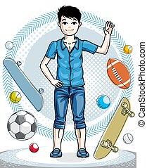 clipart., clothes., character., 偶然, 流行, 主題, 地位, ベクトル, 子供, 身に着けていること, 男の子, ファッション, 若い, 十代, かわいい