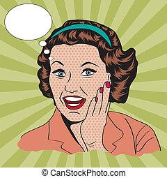clipart, comercial, ilustração, retro, mulher, feliz