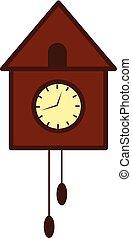 clipart, de madera, reloj, árbol, ilustración, pájaro, pared, vector, o, color