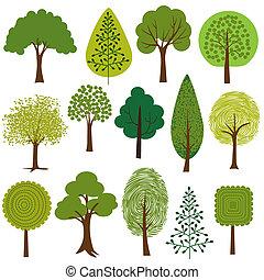 clipart, drzewa
