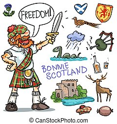 clipart, escócia, bonnie, cobrança, caricatura