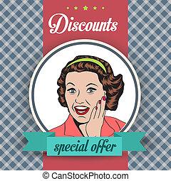 clipart, handlowy, ilustracja, retro, kobieta, szczęśliwy