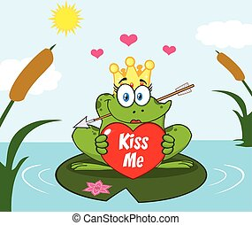 Clipart-Illustration-Cute Princess Frog Cartoon Mascot Character With Crown And Arrow Holding A Love Heart With Text Kiss Me Perched On A Pond Lily Pad In Lake