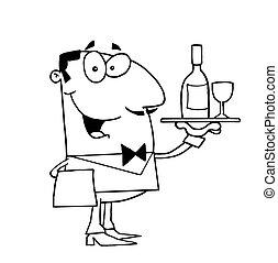 Outlined Butler Serving Wine - Clipart Illustration of an ...