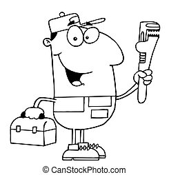Outlined Plumber - Clipart Illustration of an Outlined...