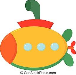 clipart, kleur, illustratie, duikboot, vector,...