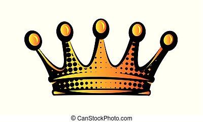 clipart, kleur, vrijstaand, illustratie, vector, crown.